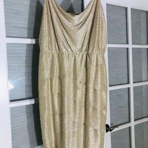 Laundry-Shelli Segal Gold Cowl-Neck Sheath Dress